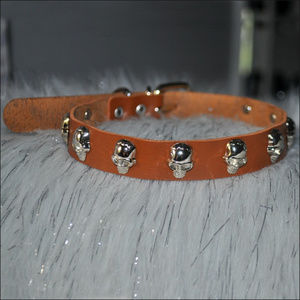 Brown Skull Studded Leather Choker